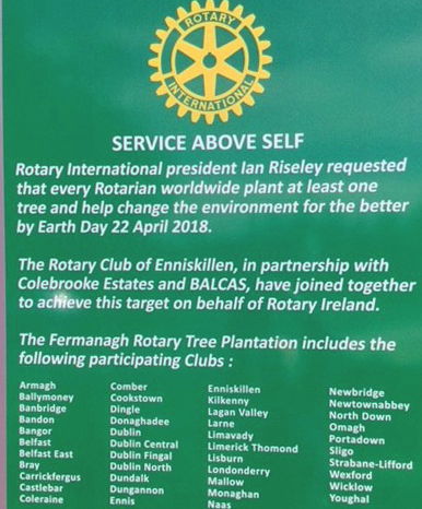 Names of supporting Rotary Clubs